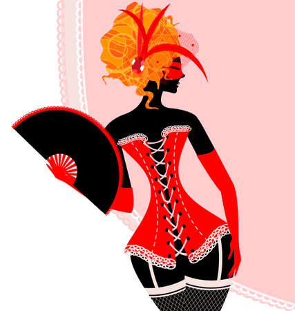 red haired person: red lady in corset with fan Illustration