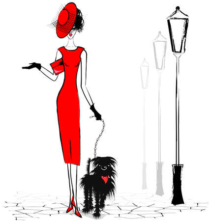 girl in red dress: lady with black dog