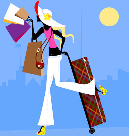 blonde girl with bags and with large suitcase in the city