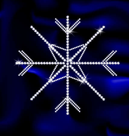 blue background silk and large jewel snowflake Illustration