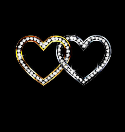 chainlet: two jewelery hearts