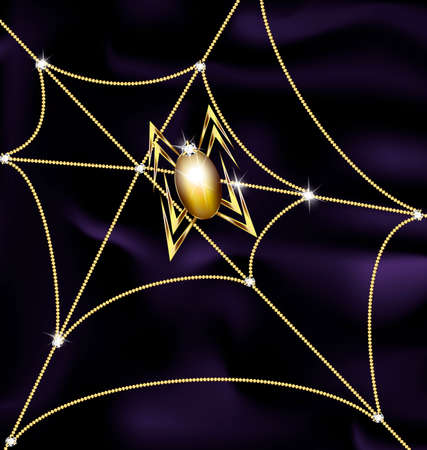 chainlet: jewel spider and web Illustration