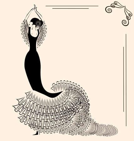 donna spagnola: immagine di flamenco Vettoriali