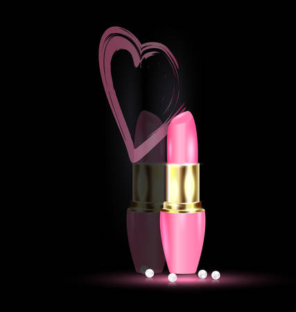 dark background and pink lipstick in mirror with heart