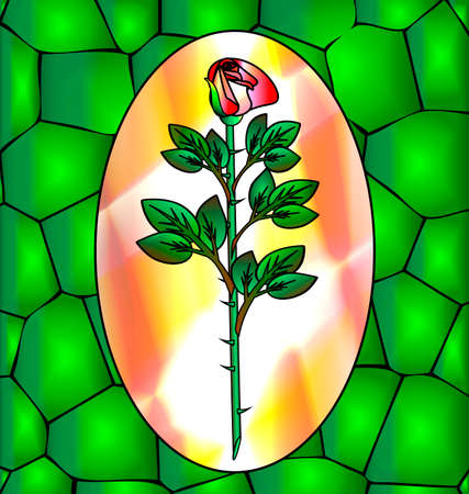 abstract green background and a large rose Vector