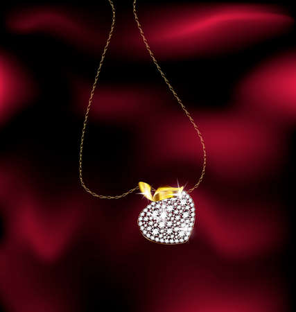neckband: red background and a jewelry chains with pendant berry