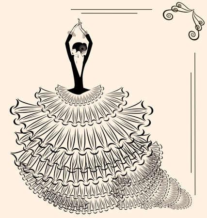 flamenco dancer: Fondo abstracto de color beige y la silueta de bailarina de flamenco