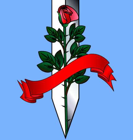 blue background and a large scarlet rose with ceremonial blade Ilustração