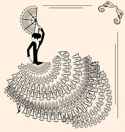 danseuse flamenco: abstrait beige et la silhouette de danseuse de flamenco