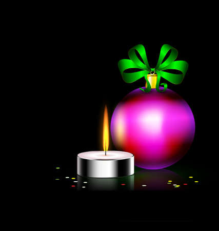 decoraded: black background and burning candle with Christmas ball