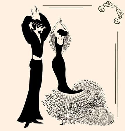 bailando flamenco: Fondo abstracto de color beige y la silueta de los bailarines de flamenco