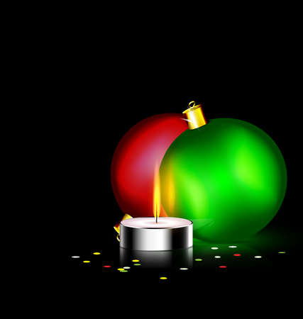 black background and burning candle with two Christmas ball