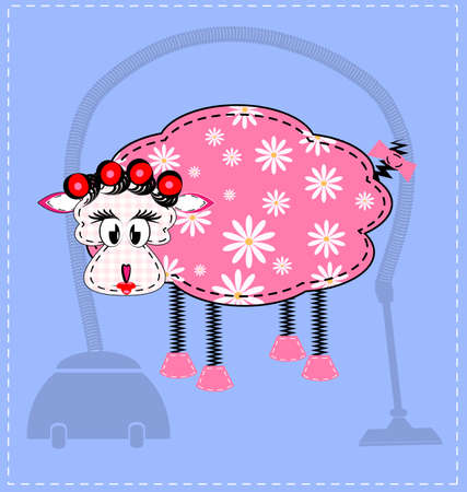 sheepskin: blue background and an abstract sheep housewife Illustration