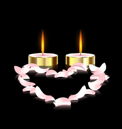 black background and two burning candles with pink petals heart Vector