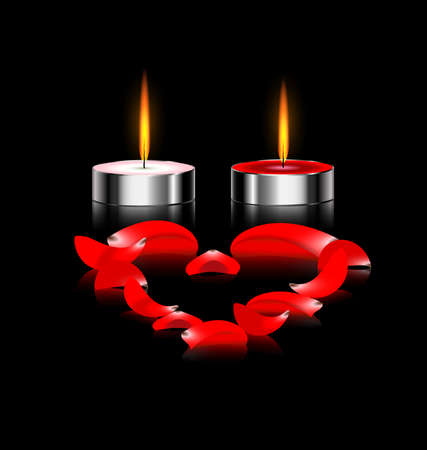 black background and burning candles with red petals heart Ilustração