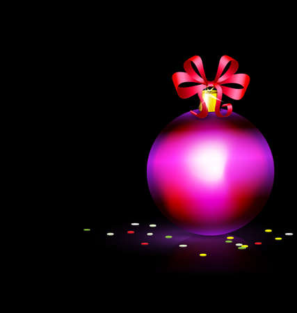 black background and burning candle with Christmas ball