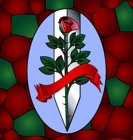scarlet: large scarlet rose with ceremonial blade in the blue oval