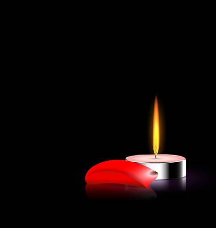 black background and burning candle with red petal