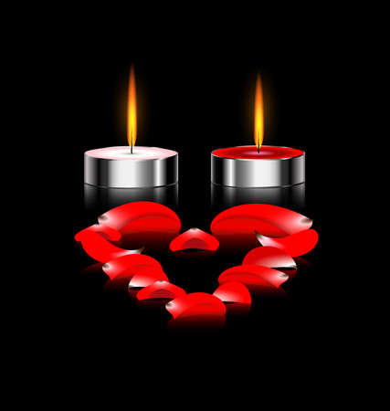 red love heart with flames: black background and burning candles with red petals heart Illustration