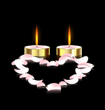 stilllife: black background and two burning candles with pink petals heart Illustration