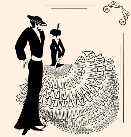 image of two  flamenco dancers Illustration