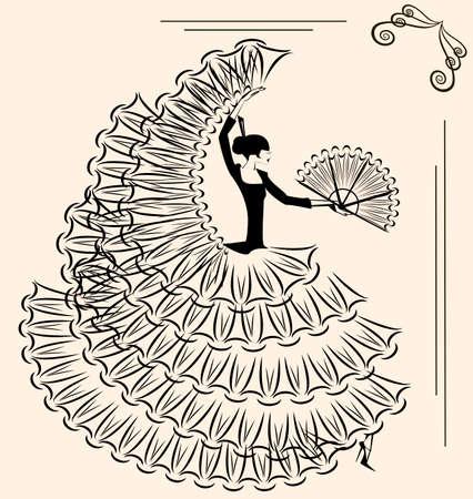bailando flamenco: imagen del flamenco con el ventilador