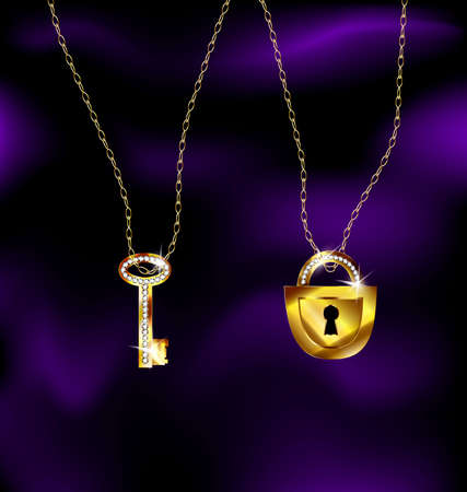 neckband: jewel lock and key