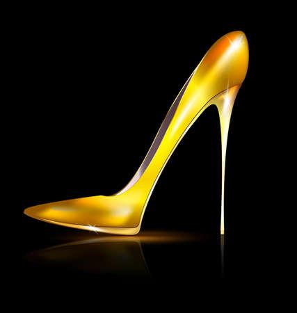 ladys: golden shoe Illustration