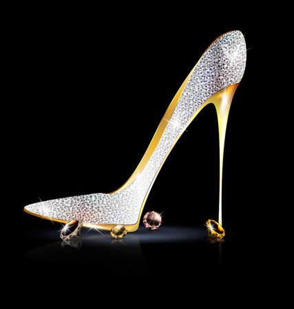high heel shoes: silver golden shoe with crystals