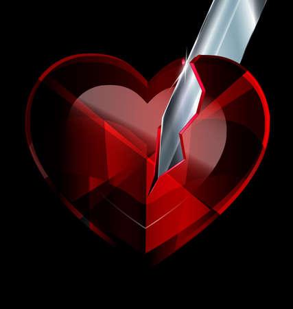 broken heart-crystal and blade Illustration