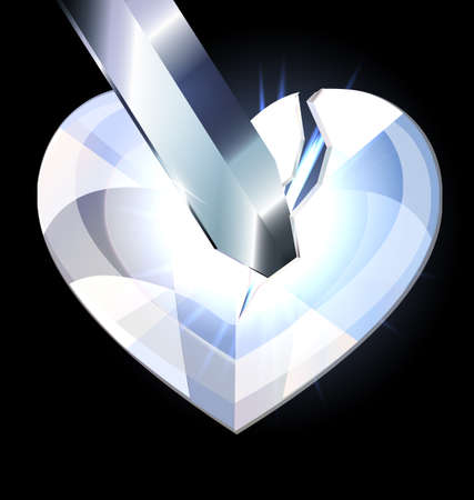 ice heart-crystal and blade Imagens - 35941256