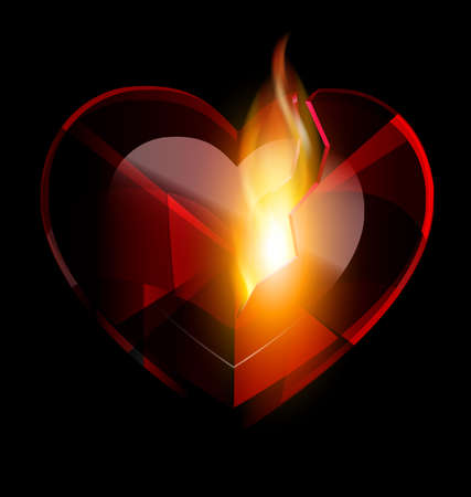wounded heart: broken heart-crystal and flame
