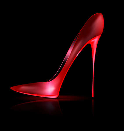 she: dark and red shoe