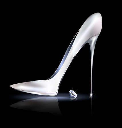 silver shoe and crystal 일러스트