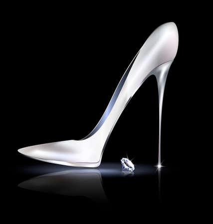 tacones negros: zapato de plata y cristal Vectores