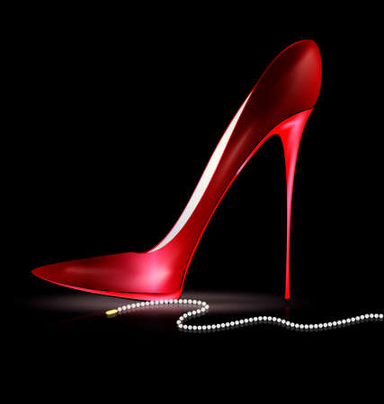 heelpiece: red shoe and beads