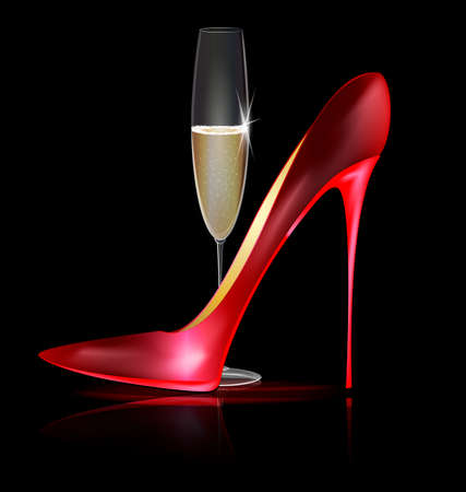 high spirits: red shoe and drink