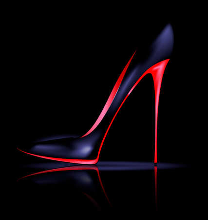 heelpiece: black background and the red black ladys shoe Illustration