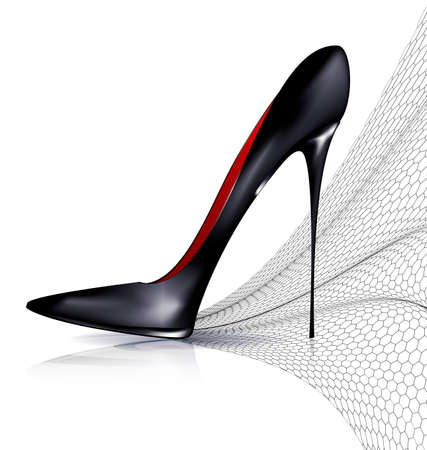 white background and the black ladys shoe with veil Illustration