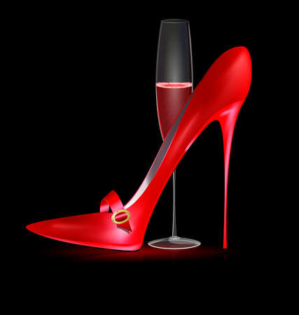 heelpiece: red shoe and glass