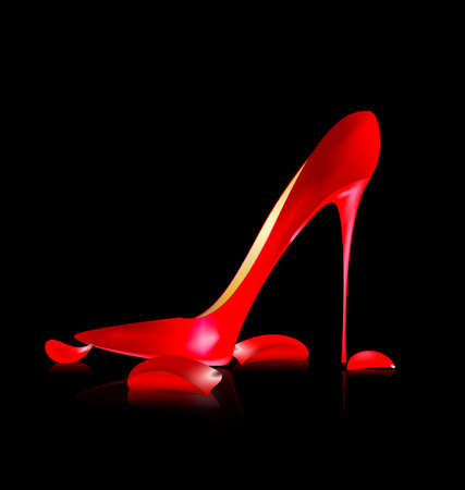 heelpiece: red shoe and petals