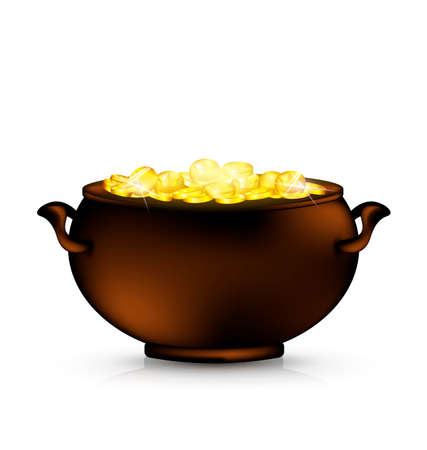 golden pot: pot of gold Illustration