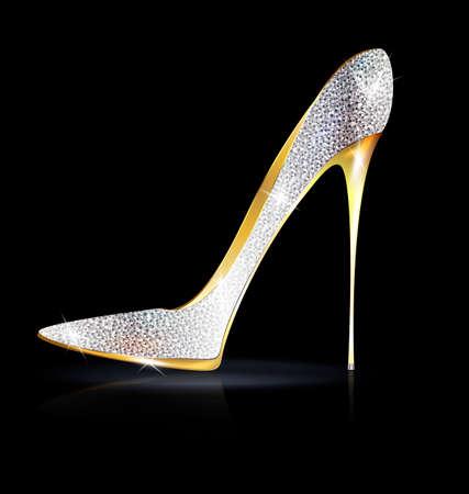tacones negros: zapato de oro plata