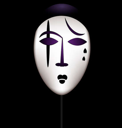 theater masks: mask of a sad clown Illustration