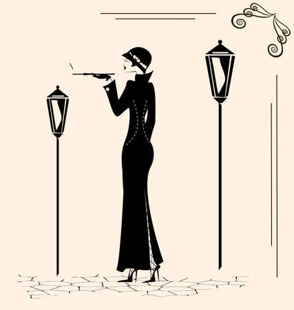 women smoking: smoking woman Illustration