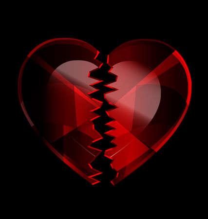 cracked heart-crystal Illustration