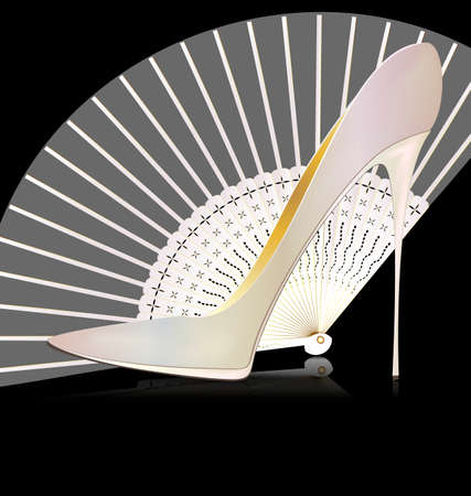 voile: white shoe and fan