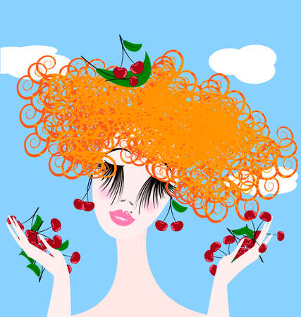 red haired: girl and cherry