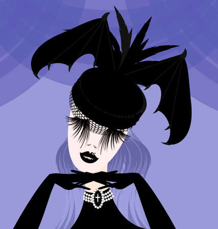 dark haired woman: abstract lady with gothic hat