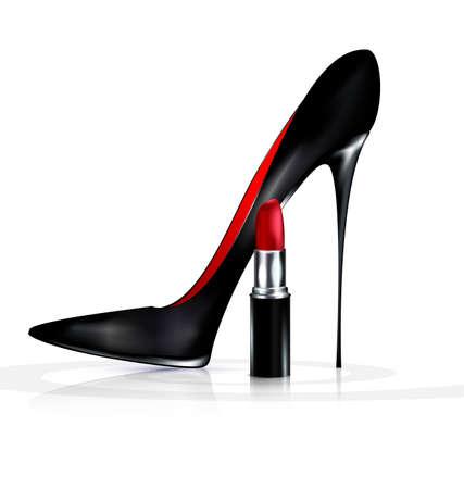 vermilion: black shoe and lipstick